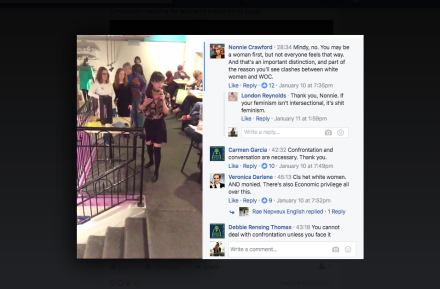 A screenshot from the Facebook Live video taken of the community meeting held at MoKaBe's. Most of those who attended were white women.