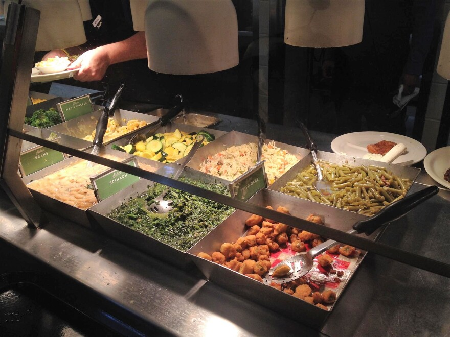 A serving line at a Luby's restaurant.