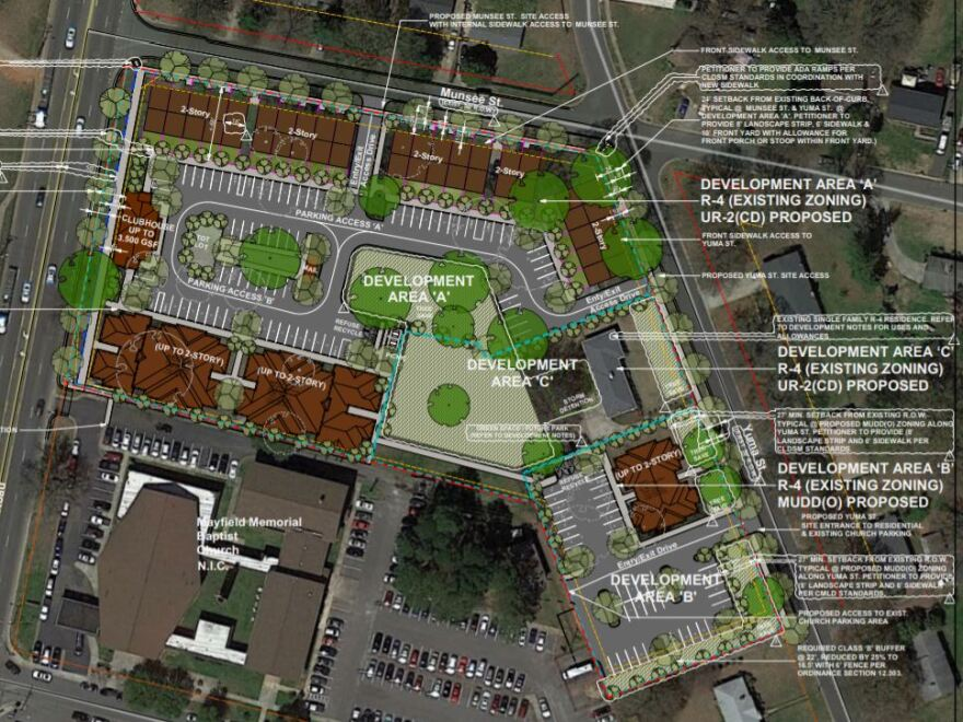 A site plan shows the layout of apartments proposed on Mayfield Memorial Baptist Church's site.