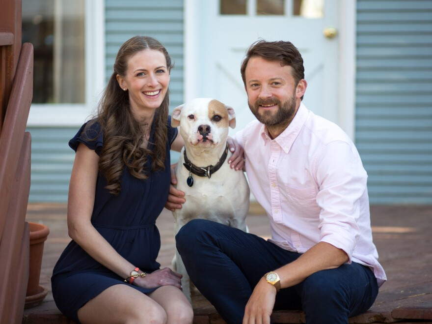 Katherine Harmon Courage, her husband, David, and dog, Raz, at home in Colorado. The three had their microbiomes sequenced by the American Gut Project to see the microbes they shared, and those they didn't.