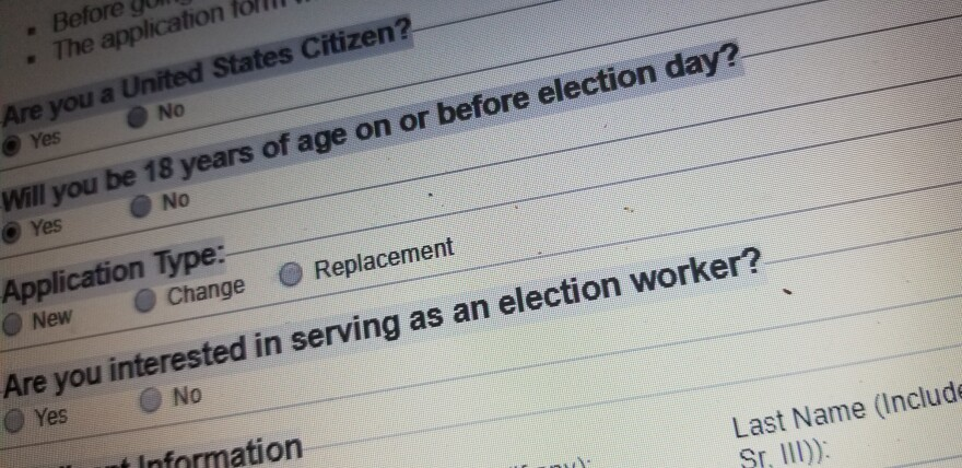 Voter registration form found on the Secretary of State's website.