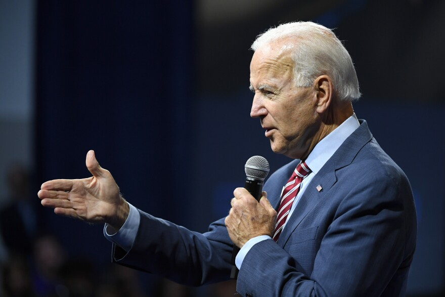 Former Vice President Joe Biden speaks during a gun control forum in Las Vegas on Wednesday. As President Trump has continued pushing false charges against Biden and his son Hunter during the impeachment fight, Biden has increased his pushback.