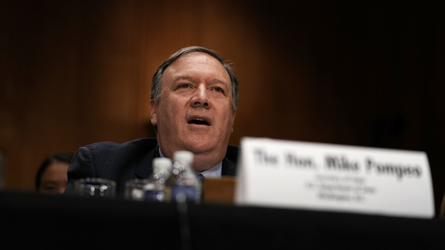 Secretary of State Mike Pompeo testifies during a hearing before Senate Foreign Relations Committee Wednesday on Capitol Hill in Washington, D.C.