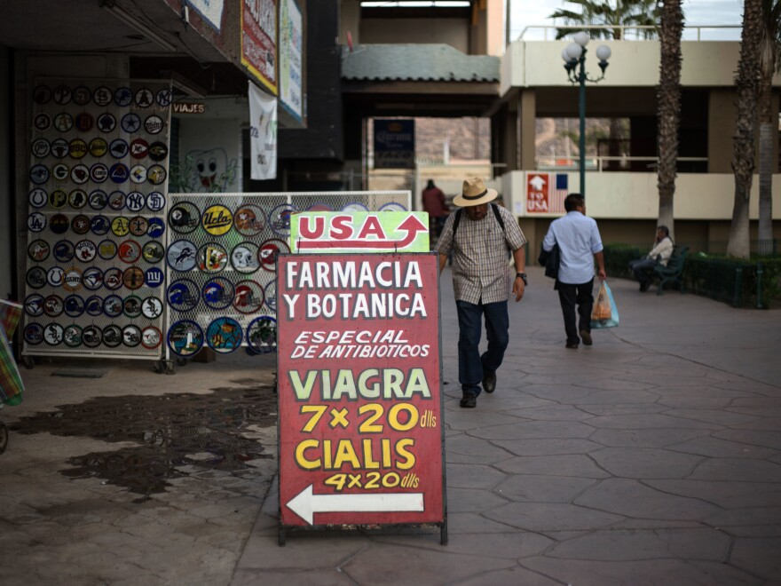 In Mexican border towns, big discount drugstores, as well as small pharmacies like this one in Tijuana, market their less expensive medicines to American tourists.
