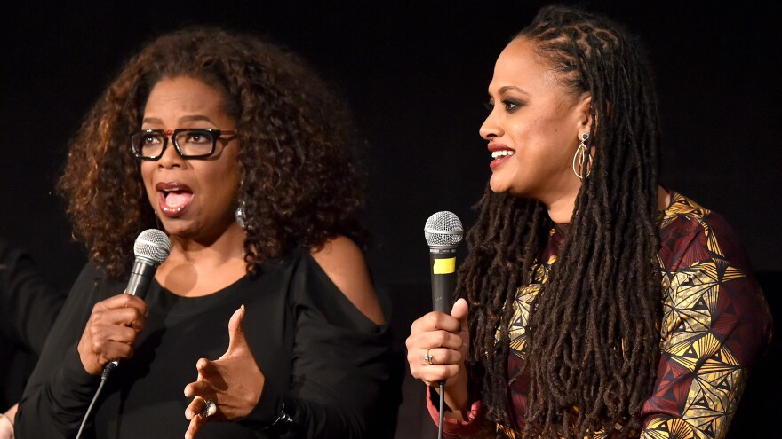 Oprah Winfrey and director Ava DuVernay, seen here in November of last year, are collaborating on a new drama series for Winfrey's network, OWN.