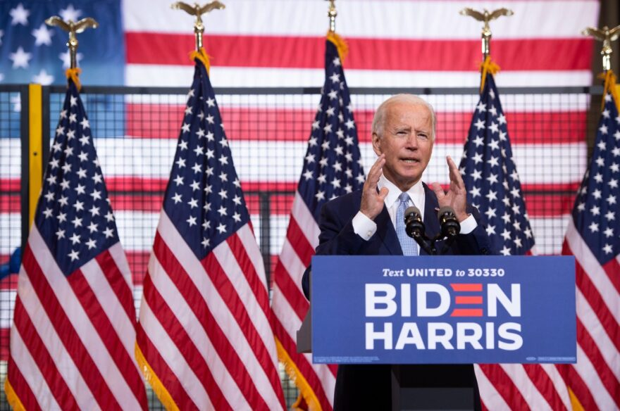 Democratic presidential nominee former US Vice President Joe Biden speaks during a campaign event in Pittsburgh, Pennsylvania. (Photo by SAUL LOEB/AFP via Getty Images)