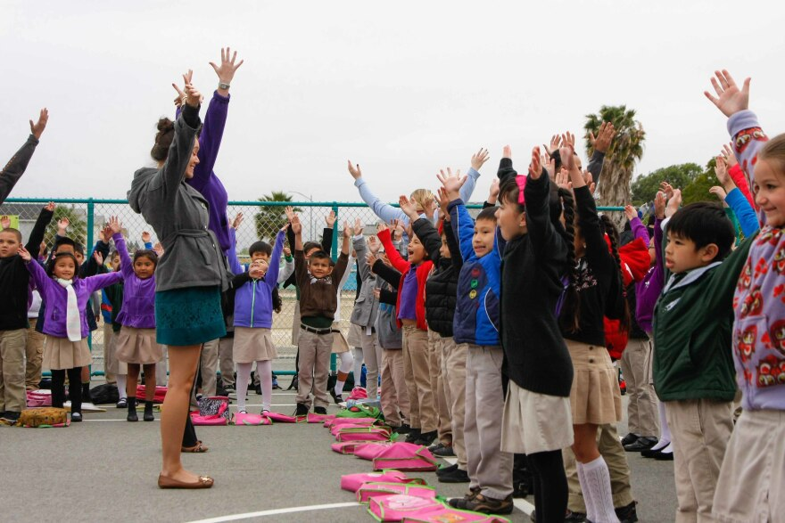 """Students get motivated during the morning """"Launch"""" assembly."""