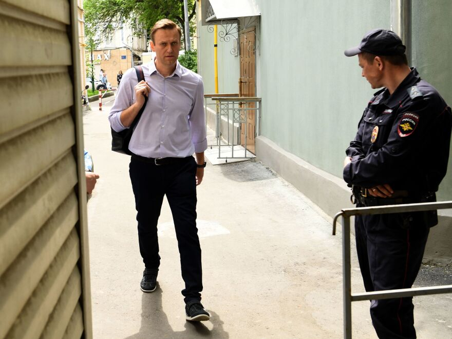 Russian opposition leader Alexei Navalny, pictured here at Moscow's courthouse in May, was released from custody on Thursday. He said on Instagram that the prison where he was held for a month has been decked out for World Cup fans.