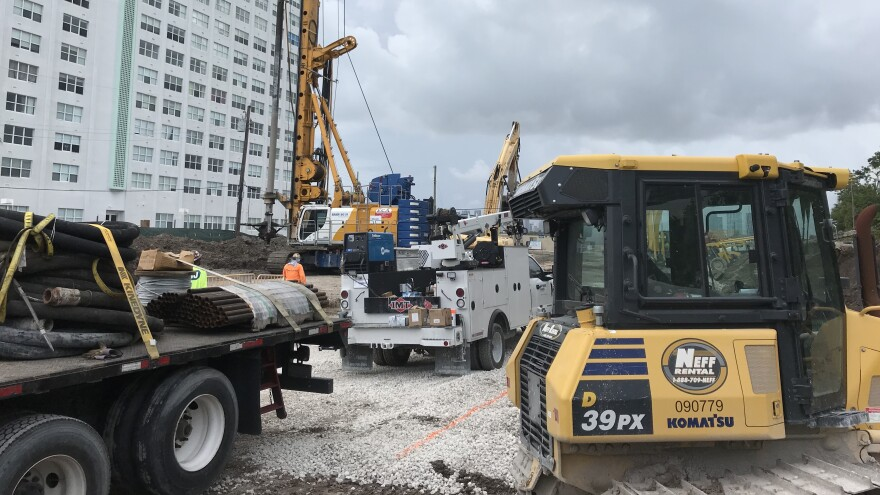 At this construction site in Miami Beach, crews are using a technique known as soil mixing to create a watertight basement and parking garage.