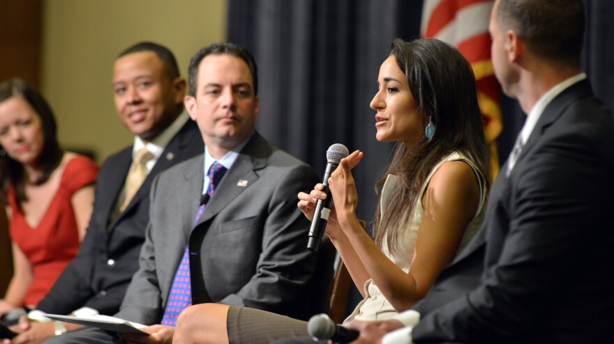 "Republican National Committee Chairman Reince Priebus introduces the first four members of its new ""Rising Stars"" program at the RNC summer meeting on Thursday in Boston. From left are Karin Agness, founder of Network of Enlightened Women; T.W. Shannon, Oklahoma speaker of the House; Priebus; New Hampshire state Rep. Marilinda Garcia; and San Jose, Calif., police officer Scott Erickson."