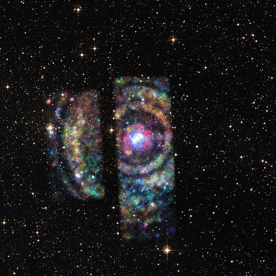 A photo of rings from a neutron star's flare.