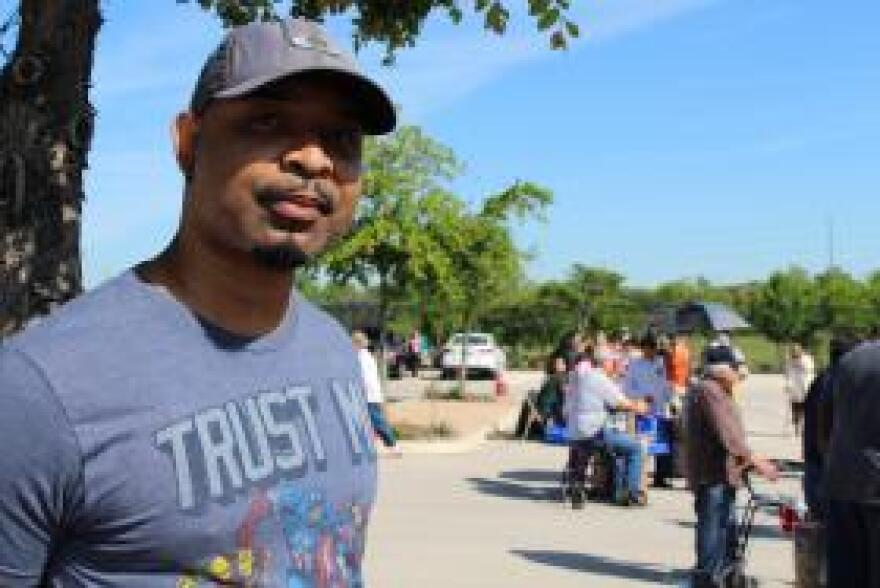 45 year old Gulf War veteran Daren Benito waits his turn at the Austin, Tex. VA mobile food pantry. A single father, he said he has gone without adequate food to provide for his children.