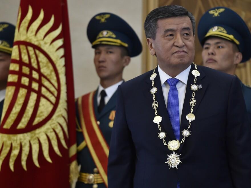 Kyrgyz President Sooronbai Jeenbekov looks on during his inauguration ceremony in Bishkek in 2017.