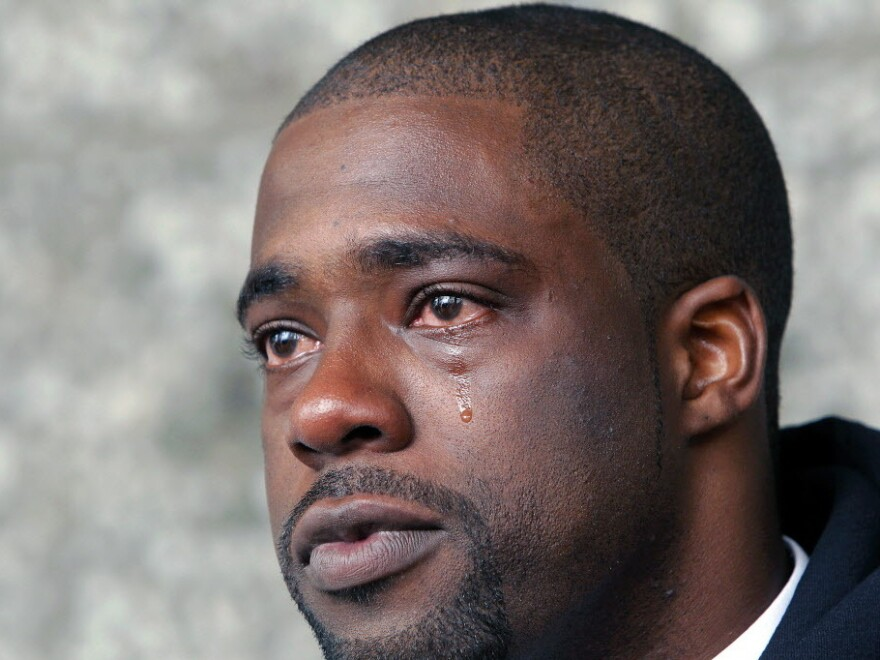 A tear of relief: Brian Banks after his rape conviction was dismissed Thursday.