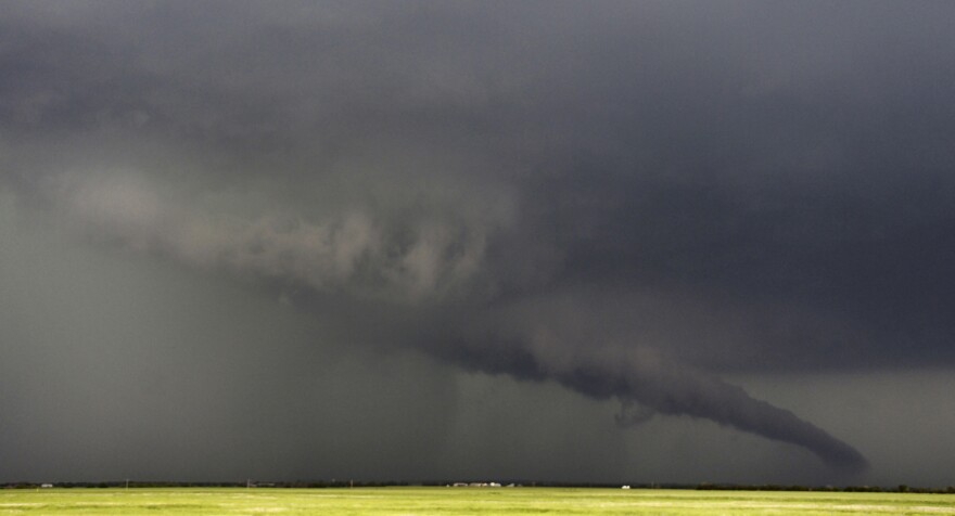 The funnel of this tornadic thunderstorm came close to the ground near South Haven, Kansas, on Sunday.