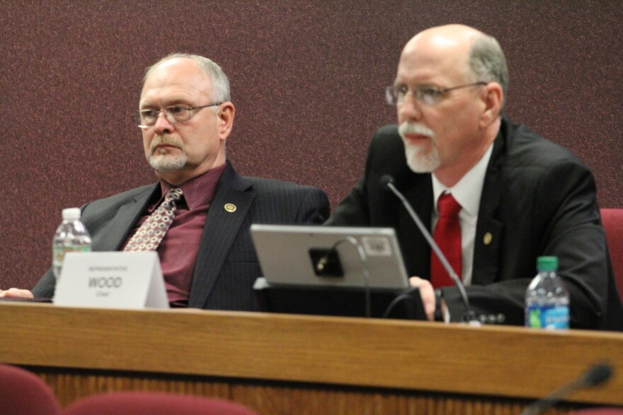 Missouri Rep. David Wood, right, questioned the direction of the university during Wednesday's committee hearing.