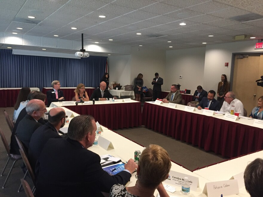 Members of Congress Ted Deutch and Debbie Wasserman Schultz address local South Florida scientists and people from the business community at a roundtable focused on Red Tide.