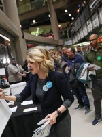 "Precinct secretary Ari Fleisig at a caucus precinct site in Des Moines, Iowa, on Monday. The Iowa Democratic Party said that the data collected ""was sound"" despite the smartphone app malfunction."