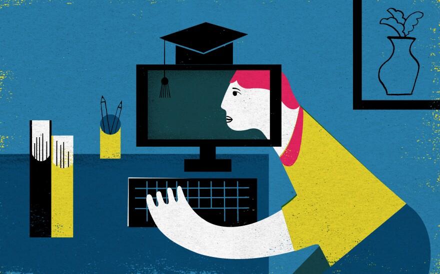 Online vs. in-person college.