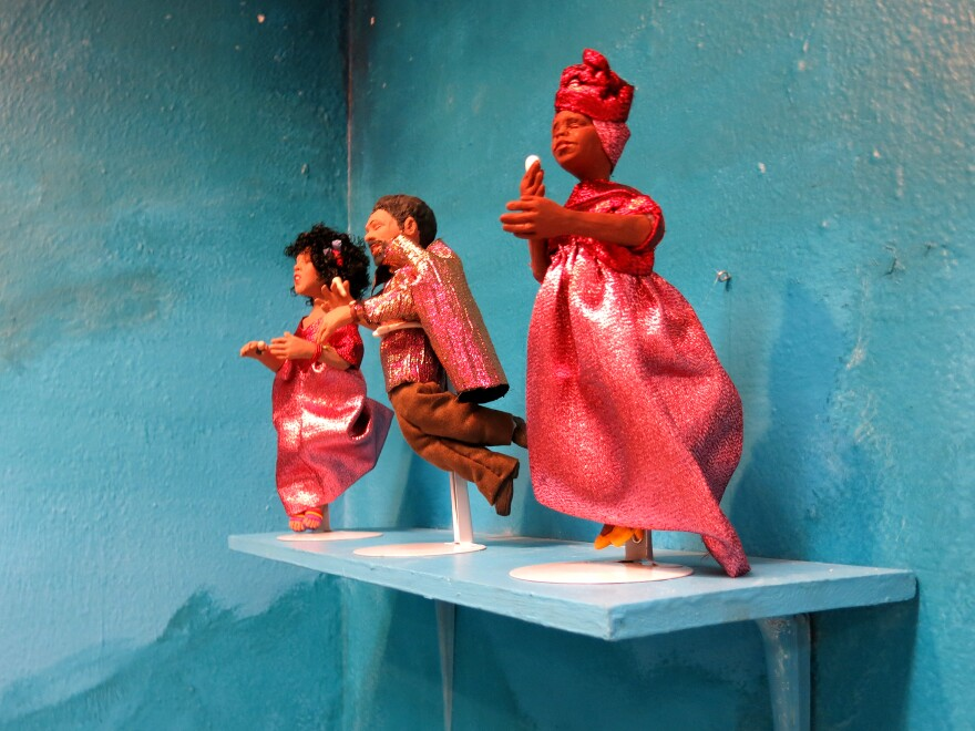 Dolls inspired by Billie Holiday, Gil Scott-Heron and Nina Simone are seen at the Black Doll Show at the William Grant Still Arts Center.