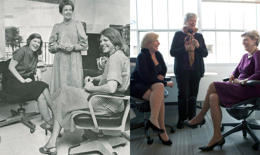 Left: Nina Totenberg (from left), Linda Wertheimer and Cokie Roberts photographed around 1979. Right: Totenberg, Wertheimer and Roberts pictured more recently at NPR headquarters.