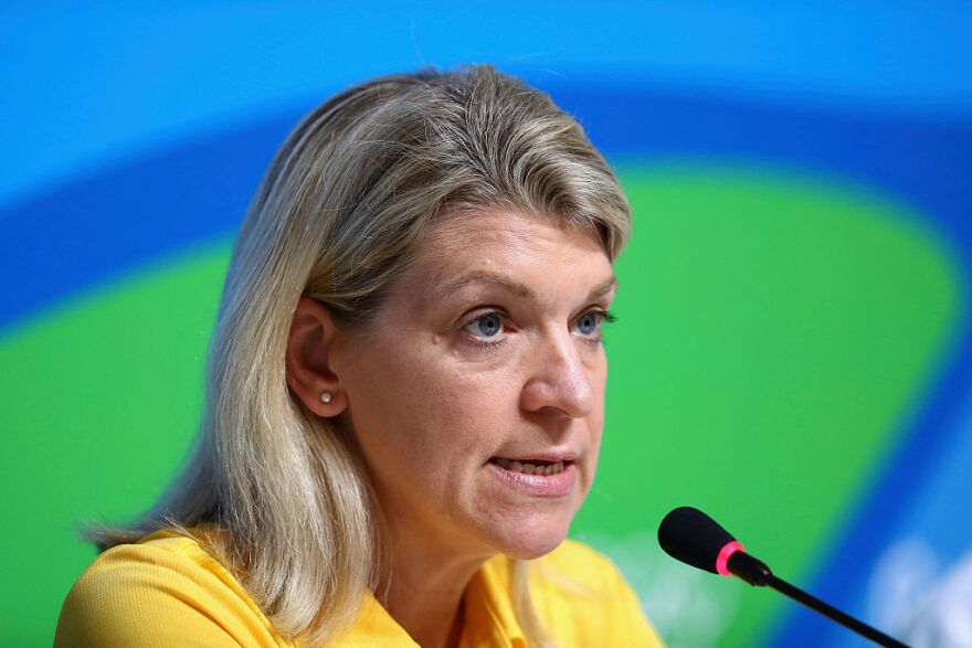 Australian Olympic team delegation head Kitty Chiller speaks to the media during a press conference on Thursday in Rio de Janeiro.