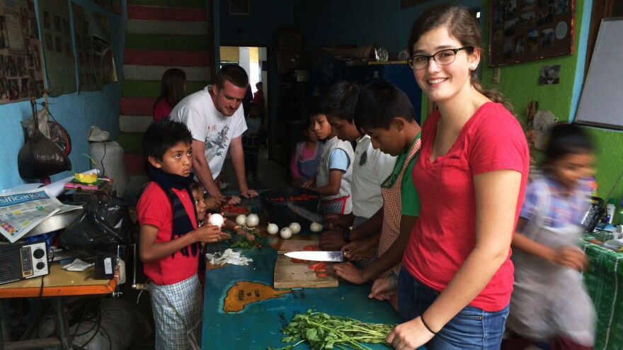 Haley Nordeen, 19, is spending the entire summer at the Prodesenh center in San Mateo Milpas Altas, Guatemala. The American University student helped build the center's new library.