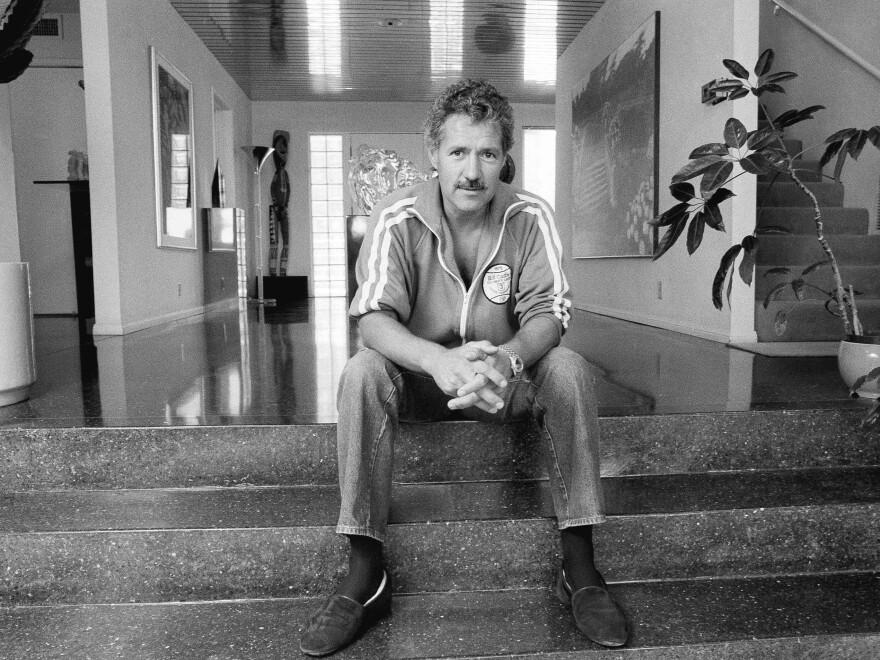 Alex Trebek began hosting <em>Jeopardy!</em> in 1984. He is shown above in his Los Angeles home in 1988.