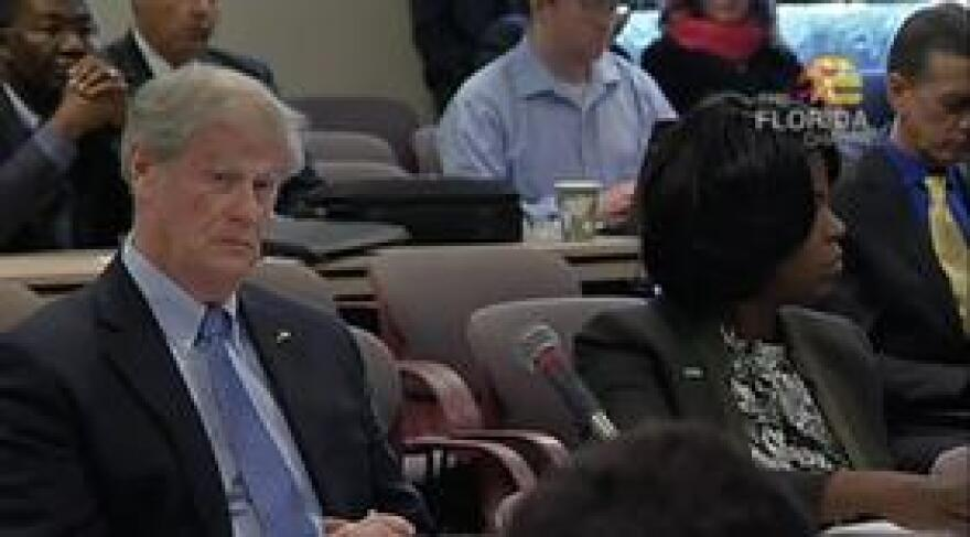 FSU President John Thrasher and FAMU President Elmira Mangum listen as the Board of Governors take up a report on the fate of the FAMU-FSU College of Engineering