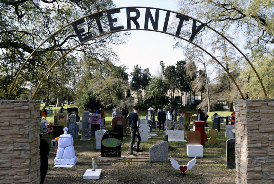 """""""Eternity"""" by Italian artist Maurizio Cattelan is a collective project in which Argentine people were invited to contribute  by creating a tombstone for any living person."""