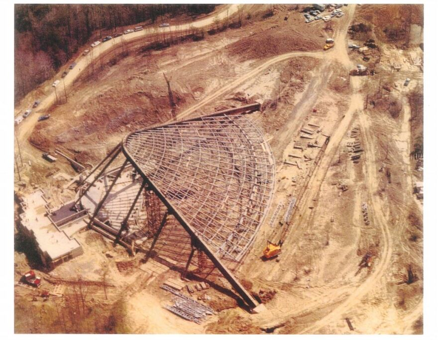 An aerial photo of Blossom's construction.
