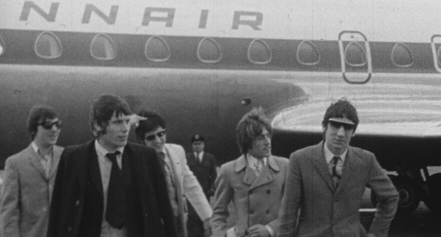 The Who with manager Chris Stamp. From left to right: Keith Moon, Stamp, John Entwistle, Roger Daltrey and Pete Townshend.