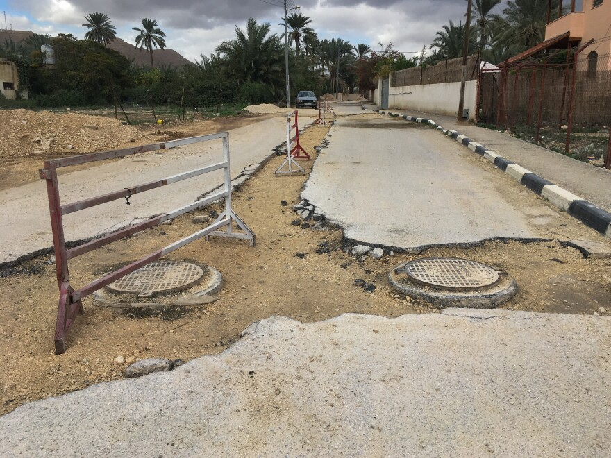 A nearly complete, multimillion-dollar sewage network being built under the roads of Jericho, in the West Bank, will have to be buried under asphalt and abandoned because of new restrictions on Palestinian aid, U.S. officials warn.