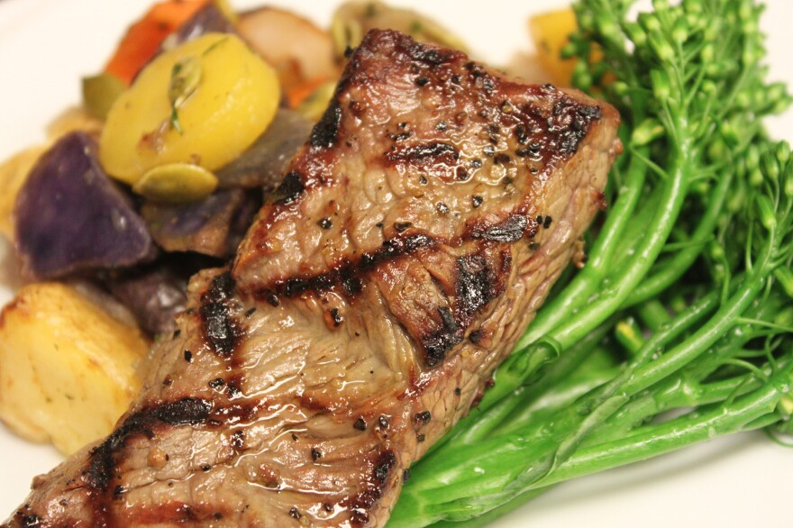 A dish featuring antibiotic-free beef from Strauss Beef served at Overlake Medical Center in Bellevue, Wash.