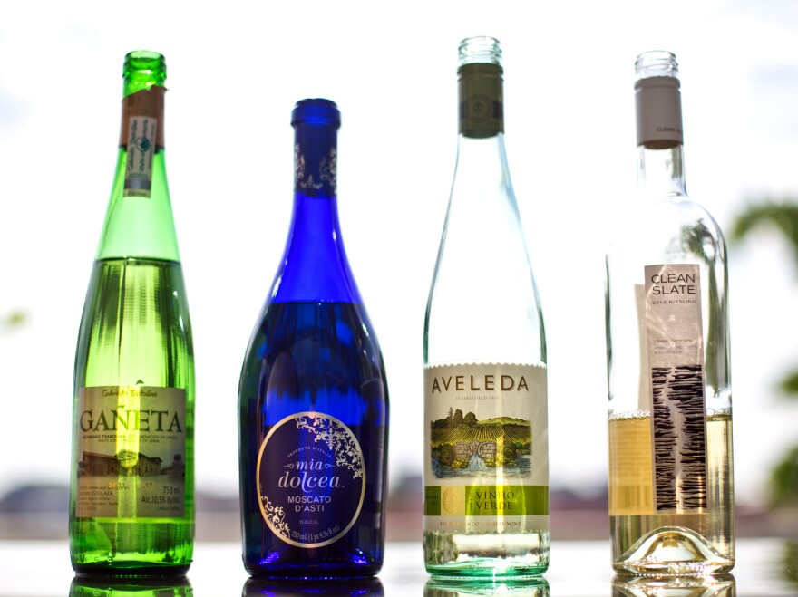 Ganeta Txakolina from Spain (clockwise from left), Mia Dolcea Moscato D'Asti from Italy, Aveleda Vinho Verde from Portugal and Clean Slate Riesling from Germany.