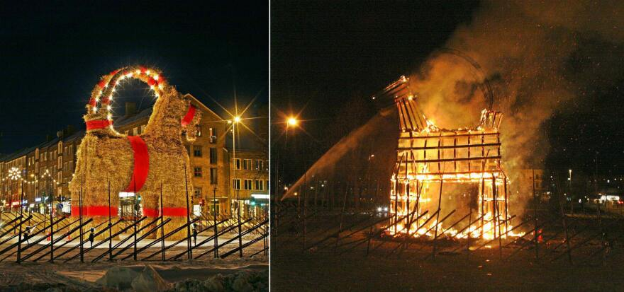 A composite photo of the Christmas goat shows the before and after it was torched by vandals in Gavle, Sweden, on Dec. 21, 2004.