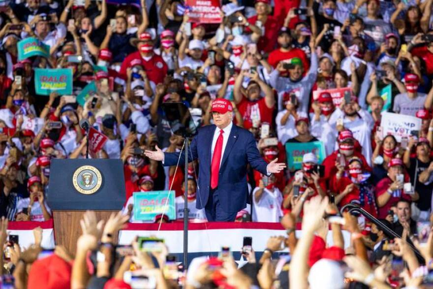 Thousands of people waited til almost midnight to see President Trump speak in Miami-Dade.