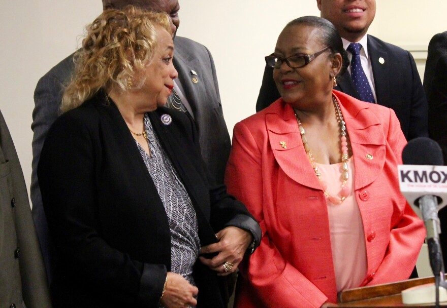 Penny Hubbard, right, chats with state Rep. Sharon Pace earlier this year.