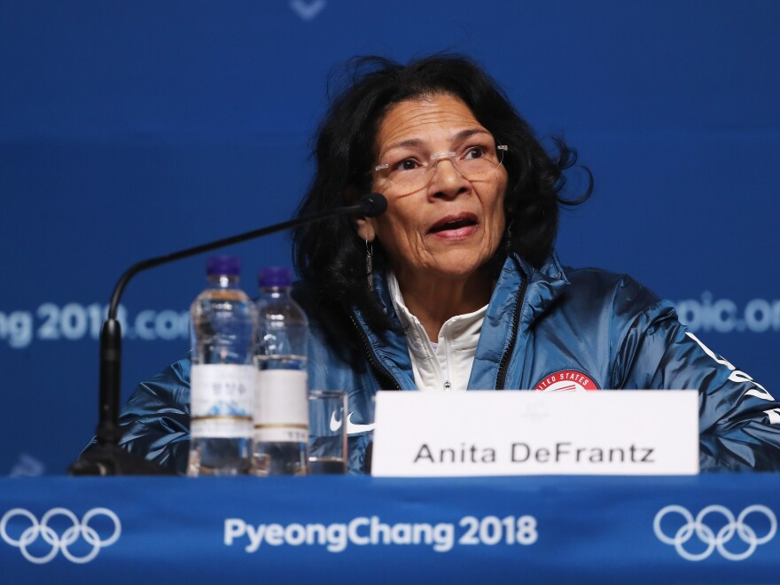 "Former medal-winning rower and International Olympic Committee member Anita DeFrantz speaks to reporters at the 2018 Winter Olympics in South Korea.DeFrantz was part of the 1980 U.S. Olympic team that boycotted that year's Moscow Summer Olympics because of the Soviet invasion of Afghanistan.  DeFrantz laments the 1980 Summer Olympians were ""the team with no result."""