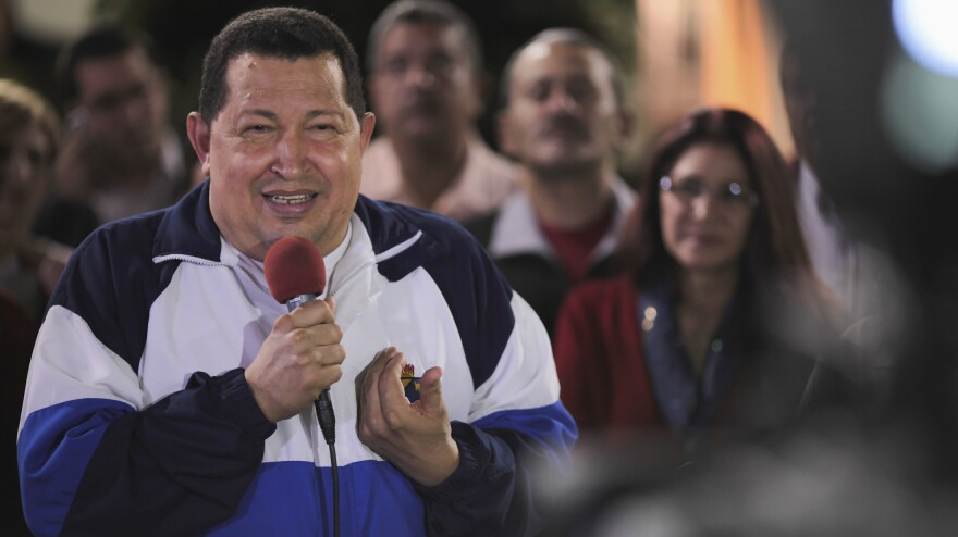 Venezuelan President Hugo Chavez, seen talking to the media in Caracas on June 19, says he will win October's election with more than 60 percent of the vote after a poll showed he held a large lead over his opposition rival Henrique Capriles.