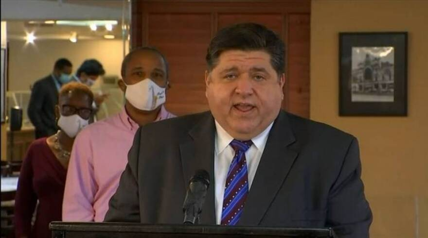 Gov. J.B. Pritzker speaks at a news conference in Chicago recently where he announced the next round of COVID-19 Business Interruption Grants and warned of future state budget cuts without further federal government intervention. On Tuesday, the seven-day average statewide COVID-19 test positivity rate stayed level at 3.5% as the Illinois Department of Public Health reported another 1,531 confirmed cases of the virus. Sept. 29, 2020