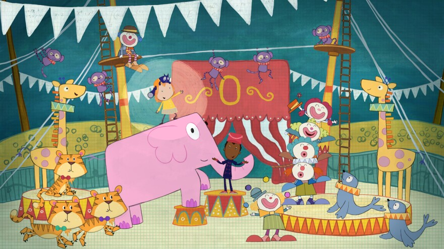 """The Circus Problem"" -- When Peg and Cat find themselves in the center ring, they climb, swing, swoop and juggle their way over amazing heights and lengths. (Episode 105A)"