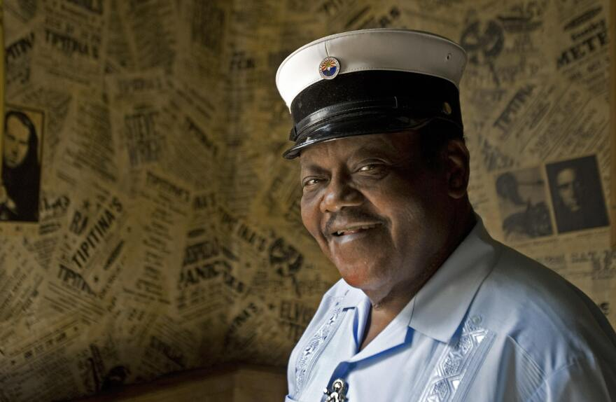 New Orleans resident and legendary pianist Fats Domino promotes the album Goin' Home: A Tribute to Fats Domino in 2007.
