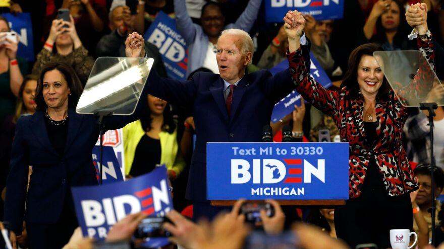 California Sen. Kamala Harris (left) and Michigan Gov. Gretchen Whitmer are two potential running mates for presumptive Democratic presidential nominee Joe Biden, a former vice president himself.