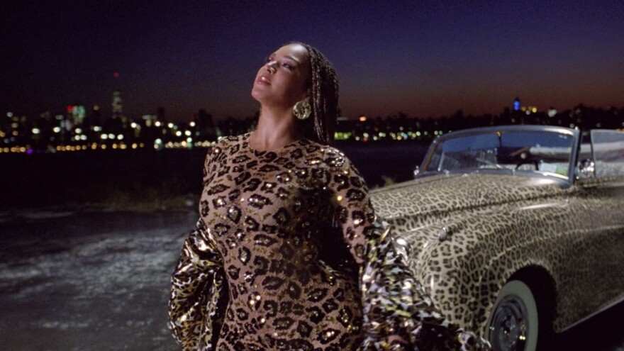 Beyoncé wears an animal-print outfit in her new movie-length music video, <em>Black Is King</em>.