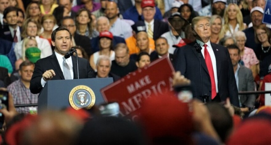 desantis and trump at campaign rally