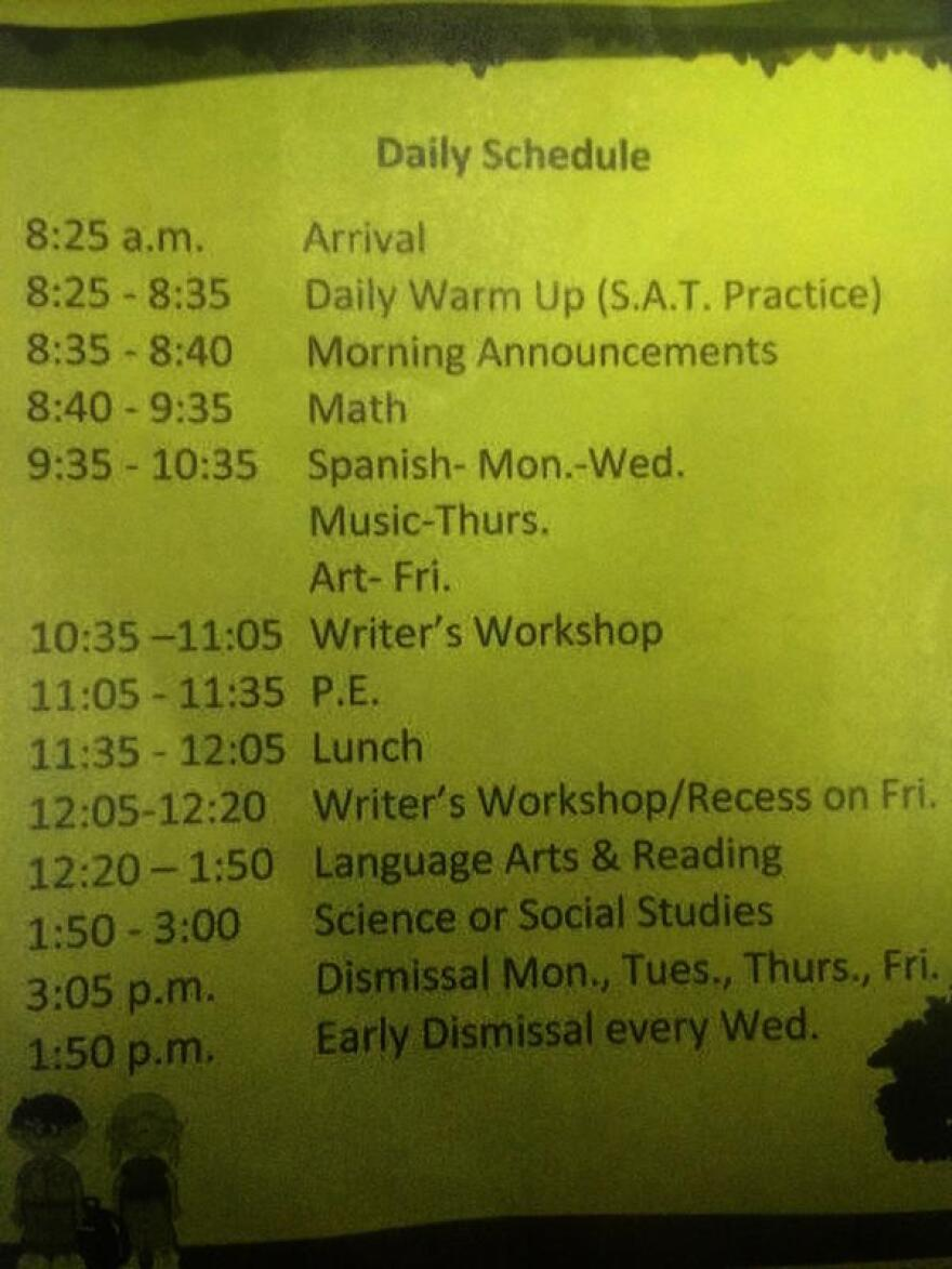 A-second grade schedule sent home from Devon Aire K-8 Center shows recess just 15 minutes a week, on Fridays.