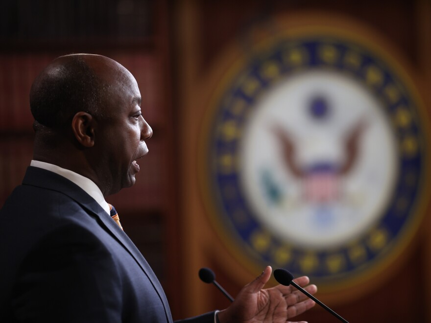 Sen. Tim Scott (R-S.C.), seen at the U.S. Capitol last month, where he spoke about a stimulus bill intended to combat the economic effects of the coronavirus.