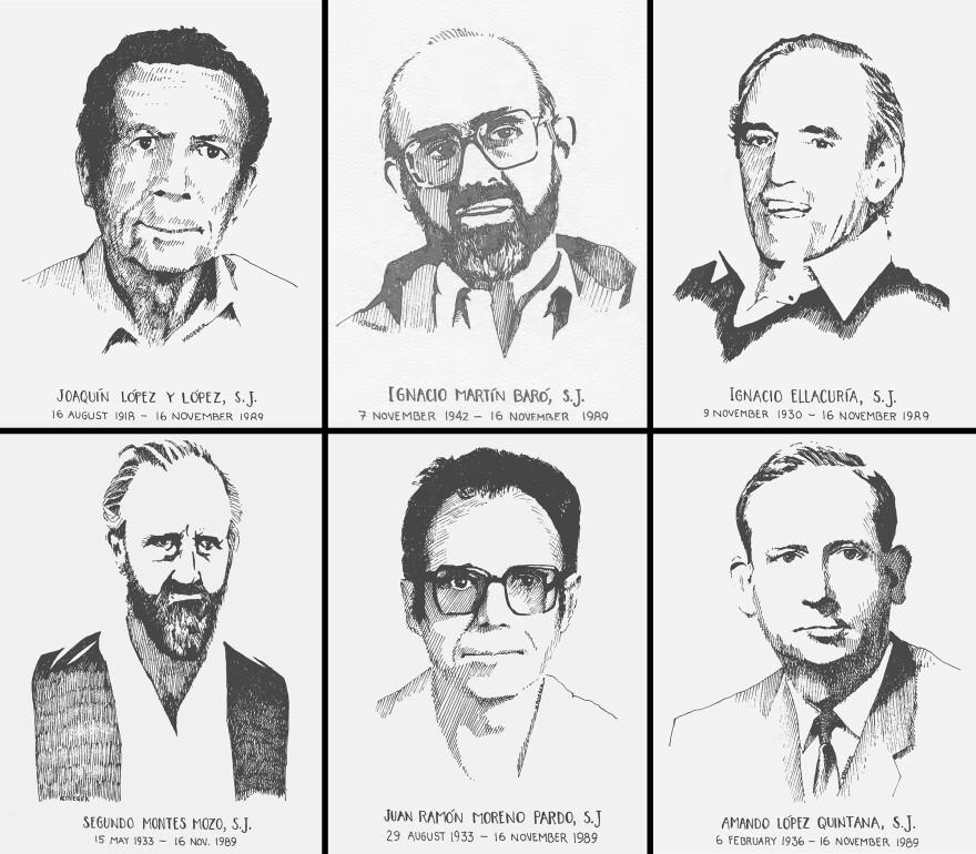 Jesuit priests (clockwise from top left) Joaquín López y López, Ignacio Martín-Baró, Ignacio Ellacuría, Amando López, Juan Ramón Moreno and Segundo Montes.