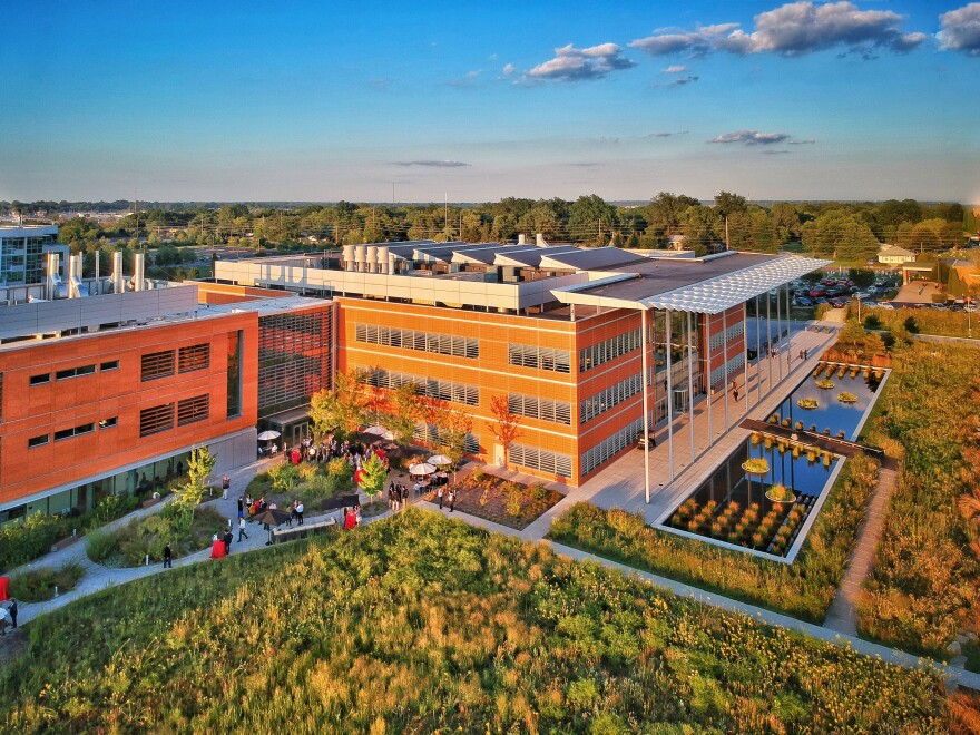 Aerial view of the Donald Danforth Plan Science Center